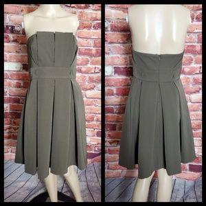 Black Halo Brown Pleated Strapless Dress Medium